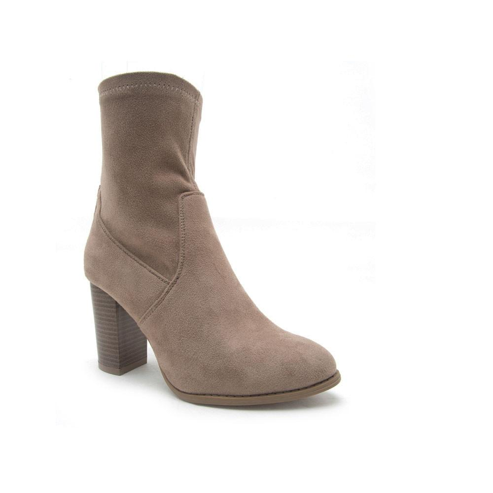 ZINC-02 Taupe Faux Suede Sock Boot