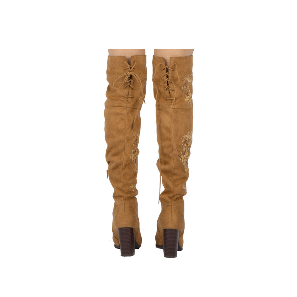 Zinc-03 Camel Embroidered Over The Knee Boot
