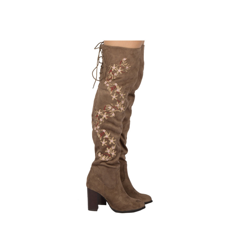 Zinc-03 Taupe Embroidered Over The Knee Boot