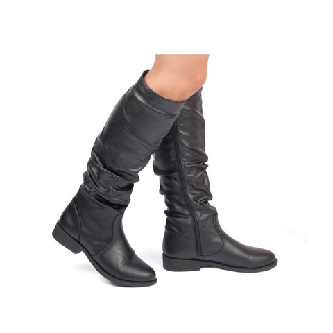 Zion-04BX Black Crinkle Slouching Boot