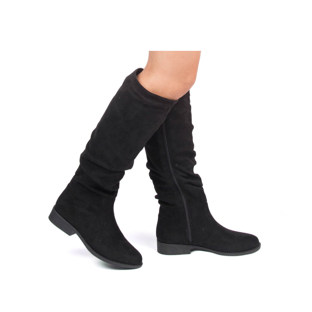 Zion-04BX Black Suede Slouching Boot