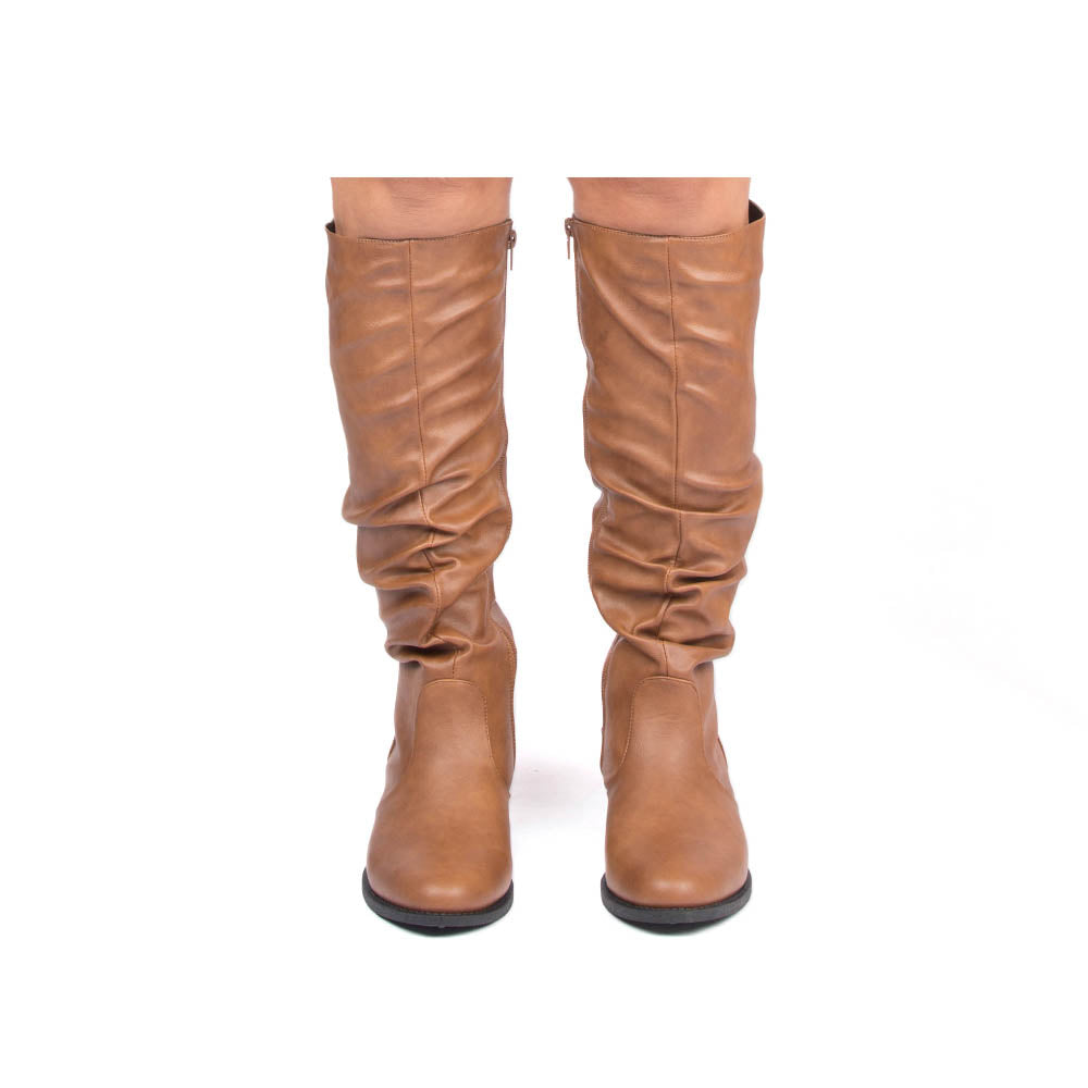 Zion-04BX Cognac Crinkle Slouching Boot