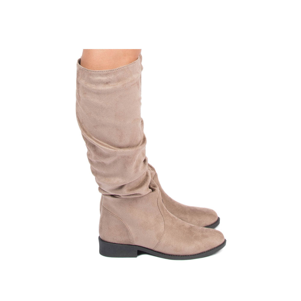 Zion-04BX Taupe Slouching Boot