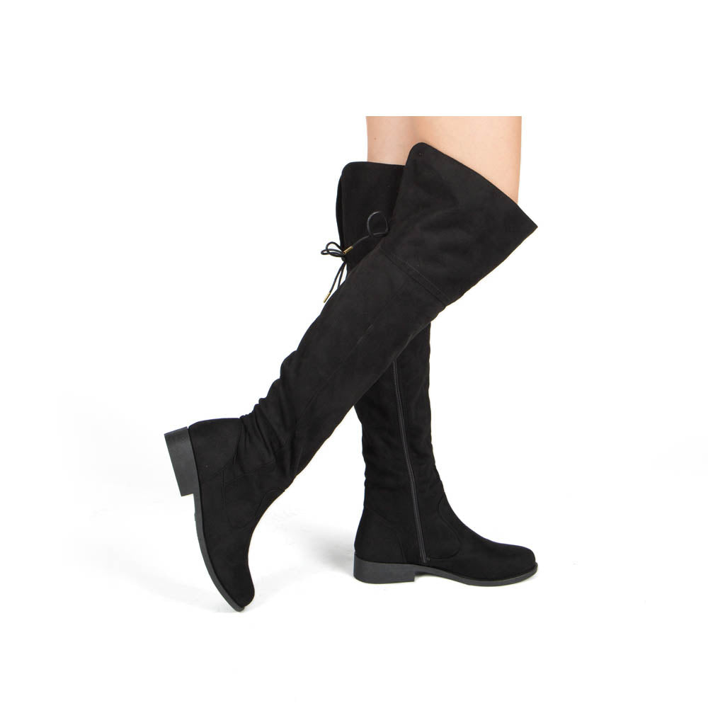 Zion-17BXXX Black Stretched Knee High Boots