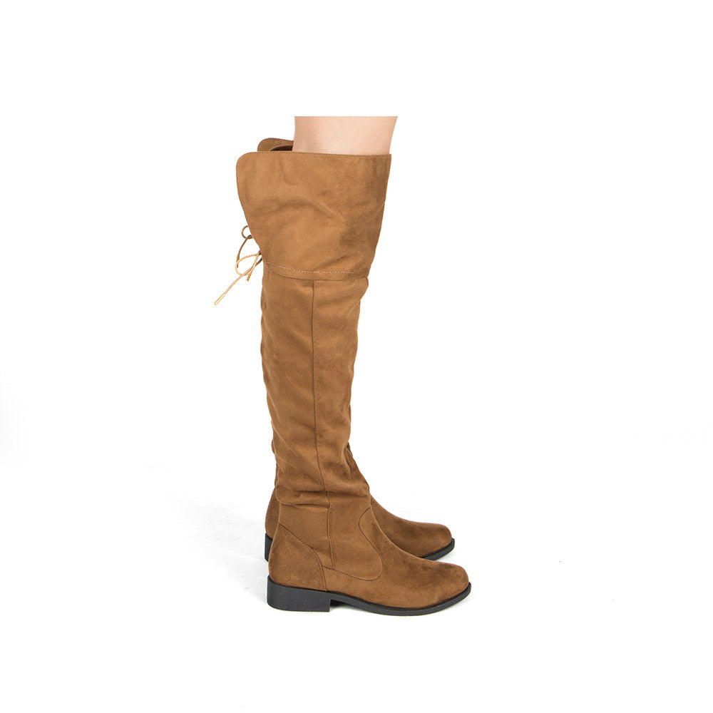 Zion-17BXXX Coffee Stretched Knee High Boots