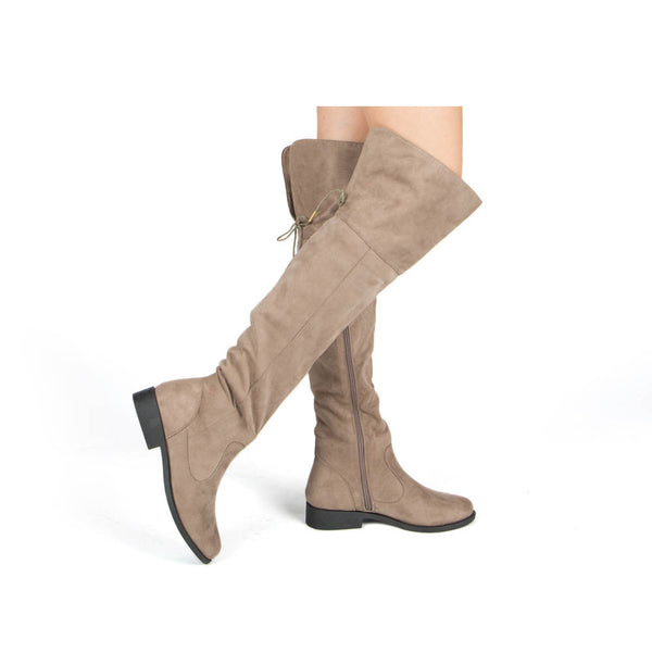 Zion-17BXXX Taupe Stretched Knee High Boots