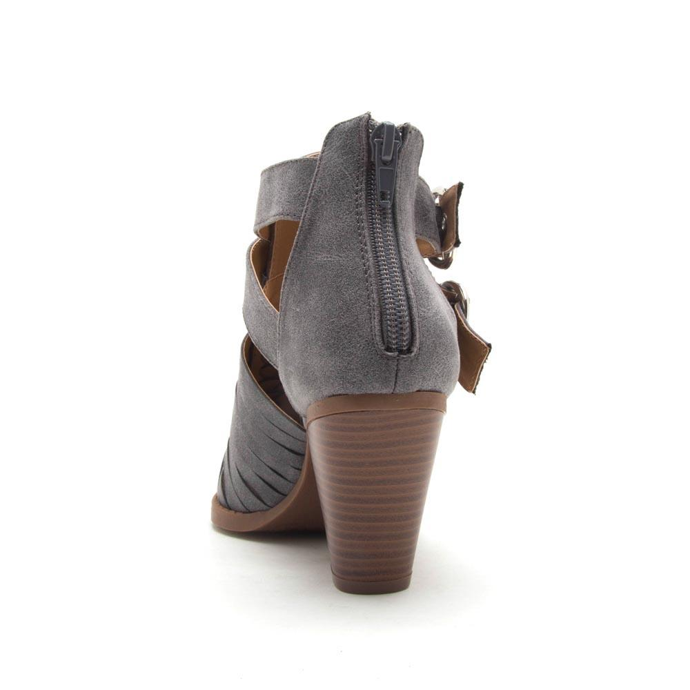 Zooey-01 Steel Grey Strappy Booties