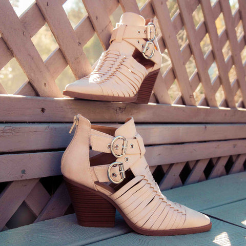Zooey-01 Beige Strappy Booties