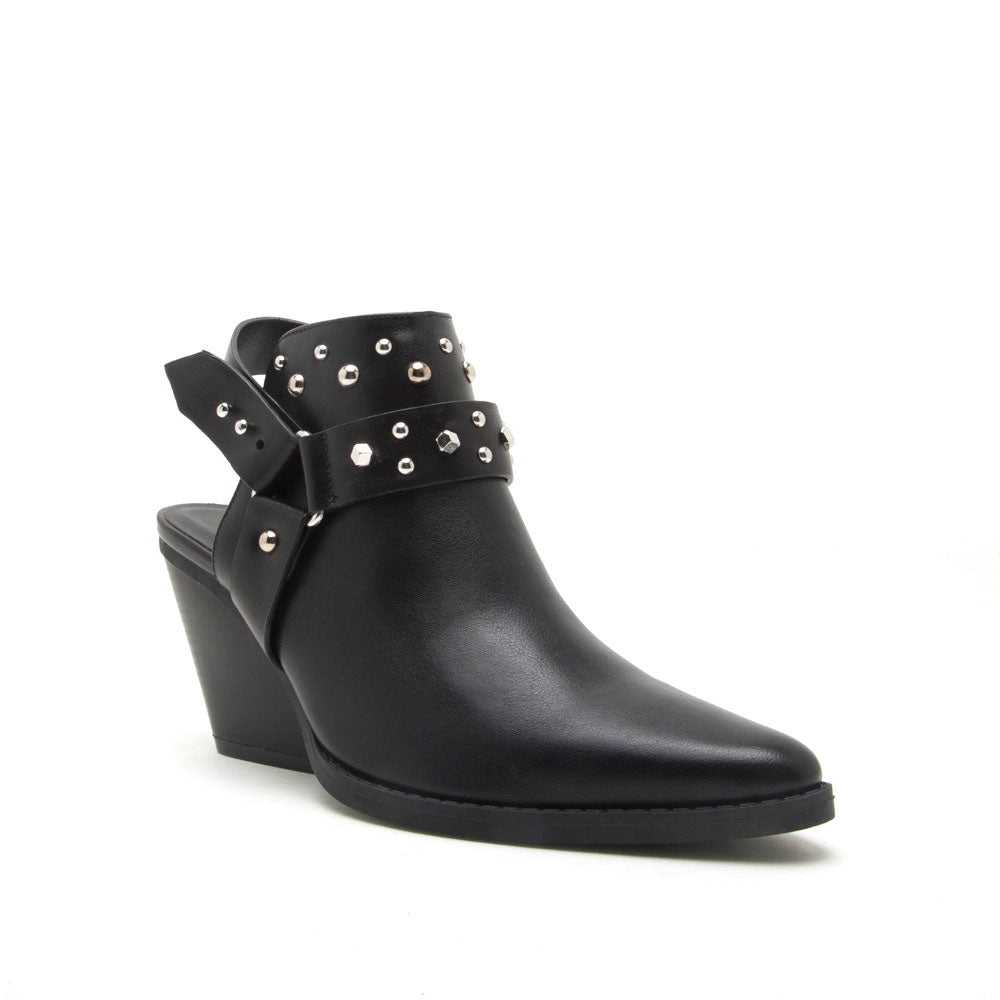 Zooey-04X Black Studded Mules