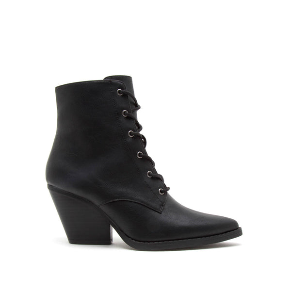 Zooey-24X Black Lace Up Booties