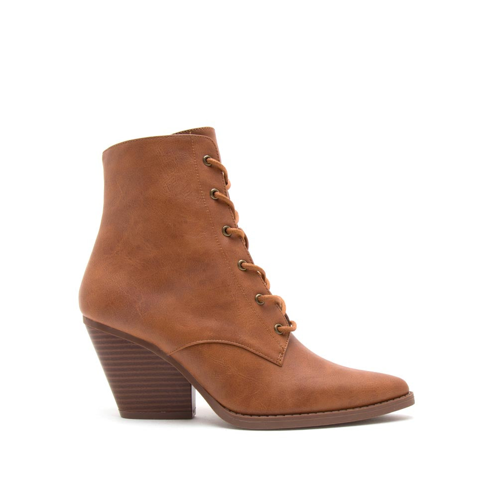 Zooey-24X Rust Lace Up Booties