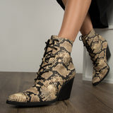 Zooey-24X Beige Black Snake Lace Up Booties