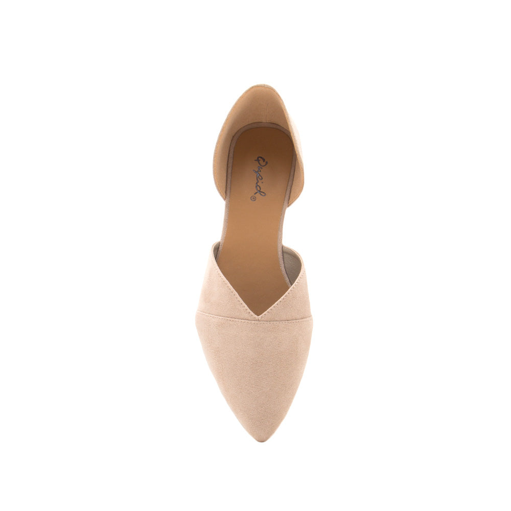 Zoom-08 Taupe Double Piece D'Orsay Ballerinas