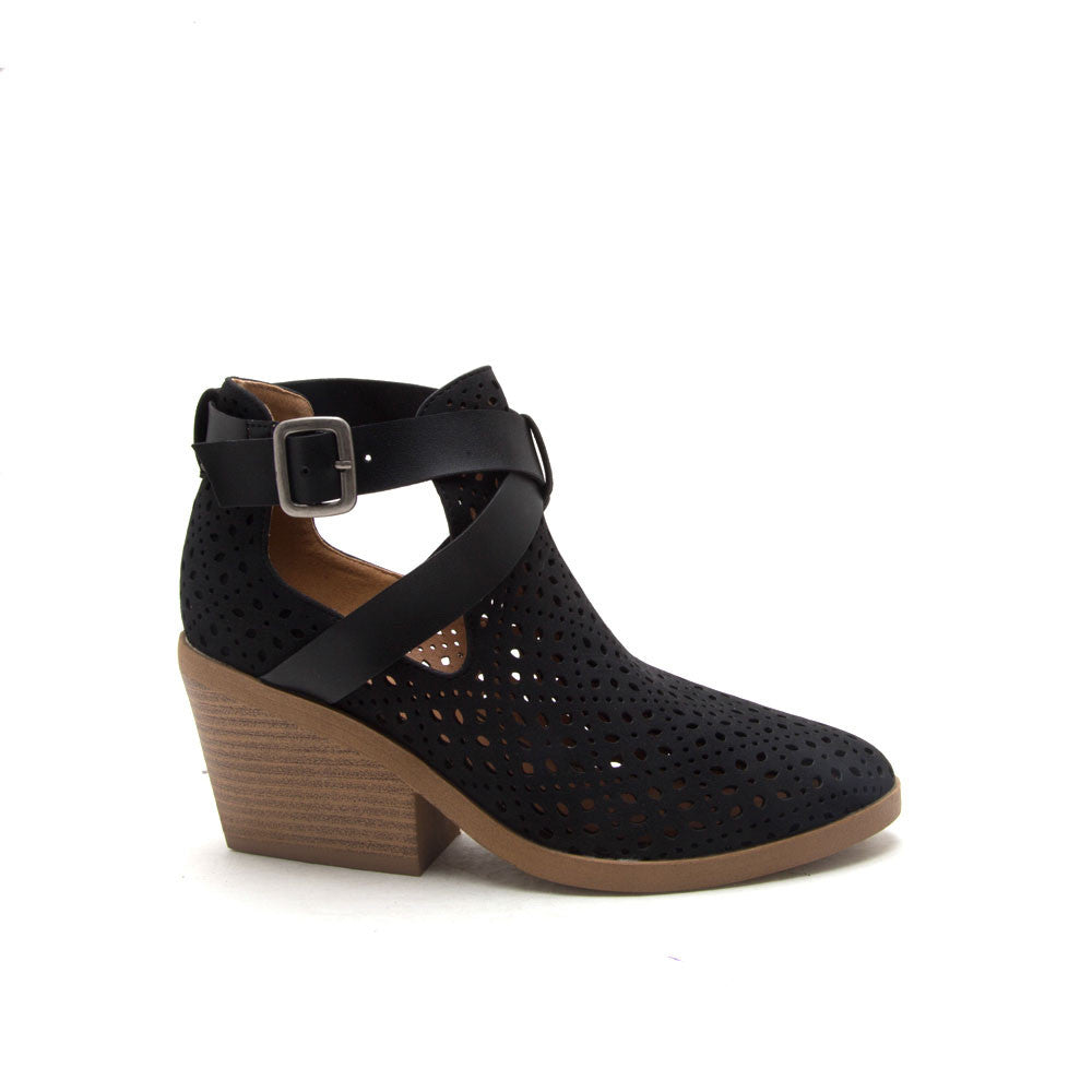 ZORA-13 Black Cut Out Buckle Bootie