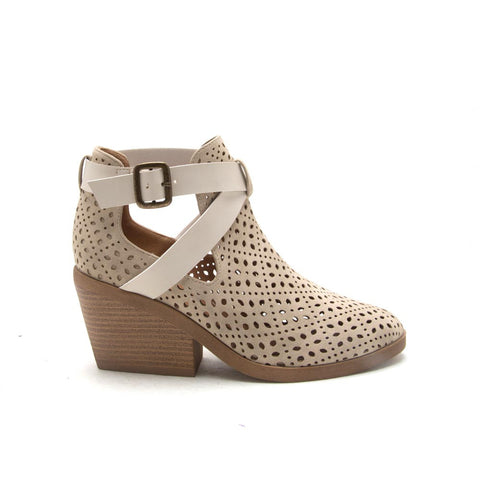 ZORA-13 Stone Cut Out Buckle Bootie