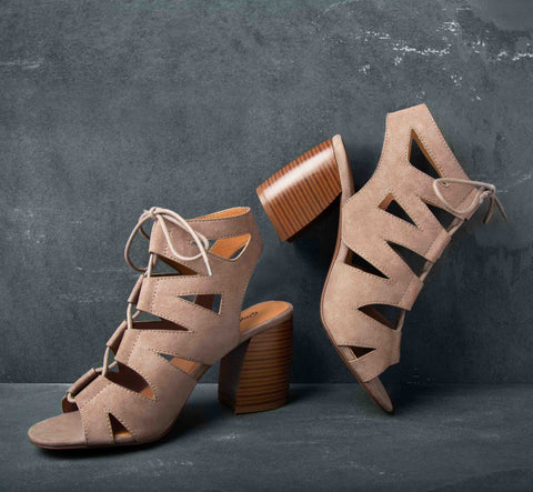 Beau-02A Taupe Lace Up Cage Sandal