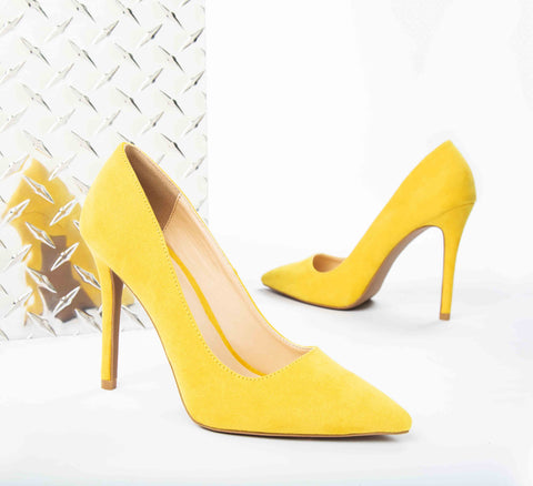 Show-01 Yellow Suede Pumps