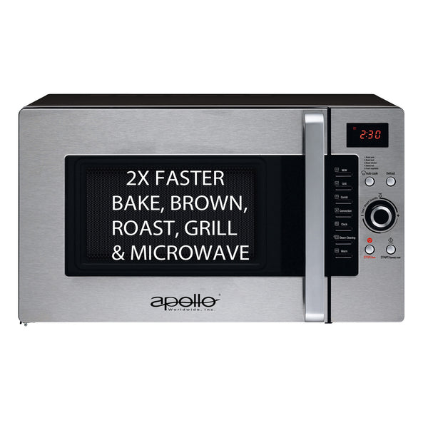 Apollo Half Time Convection Microwave Oven,Countertop AD-34CTS/B,1.2 cu ft.,1600W, 3 Year Warranty