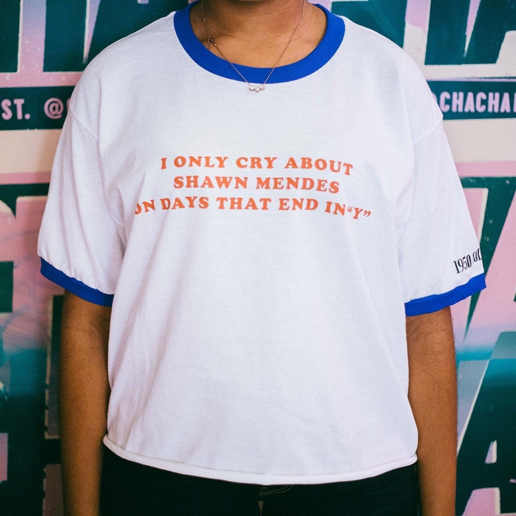 "I Only Cry About Shawn Mendes On Days That End In ""Y"" Ringer Tee - 1950 Collective LLC - 1"