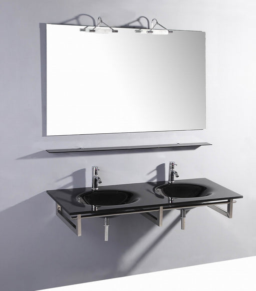 Judah- 55 inch Modern Wall Mounted Black Glass Double Bathroom Vanity