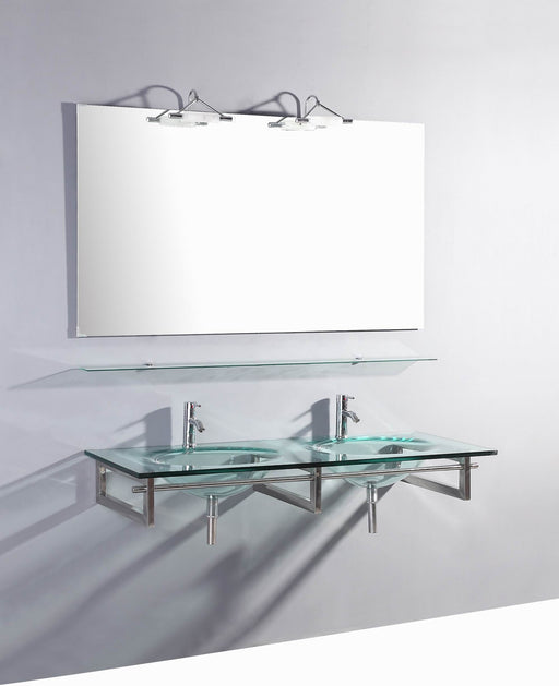 Zion- 55 inch Modern Wall Mounted Glass Double Bathroom Vanity