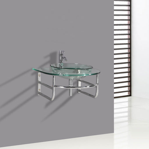 Andrew- 23.5 inch Modern Wall Mounted Chrome Bathroom Vanity w/ Tempered Glass Countertop & Sink