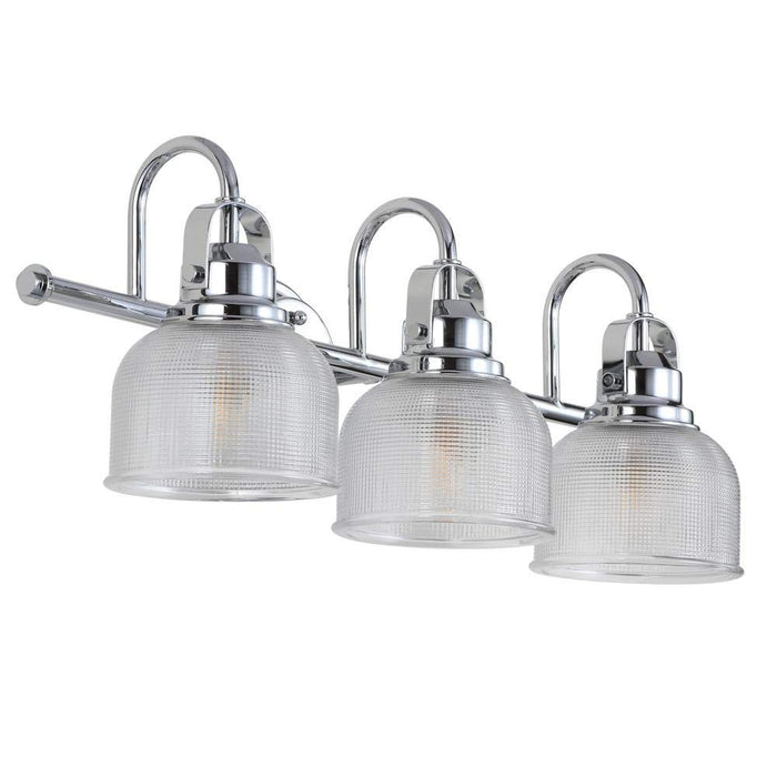 Large Chrome and Glass 3-Light Bathroom Vanity Light, Traditional Silver Metal with Textured Glass Shades Vanity Sconce