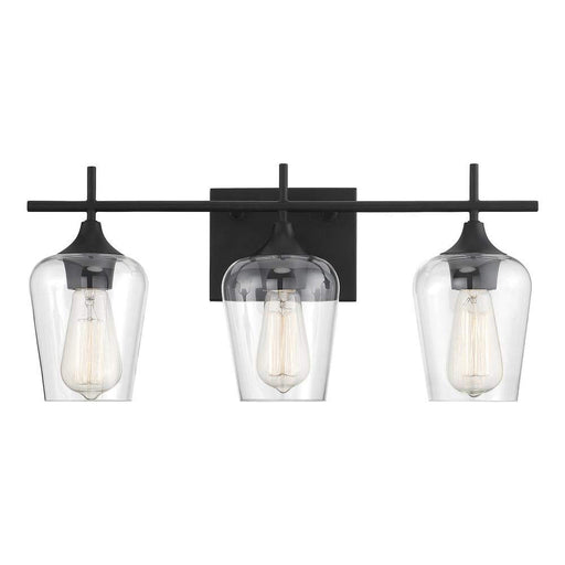 Large Black Metal 3-Light Bathroom Vanity Light with Clear Glass Shades Vanity Sconce