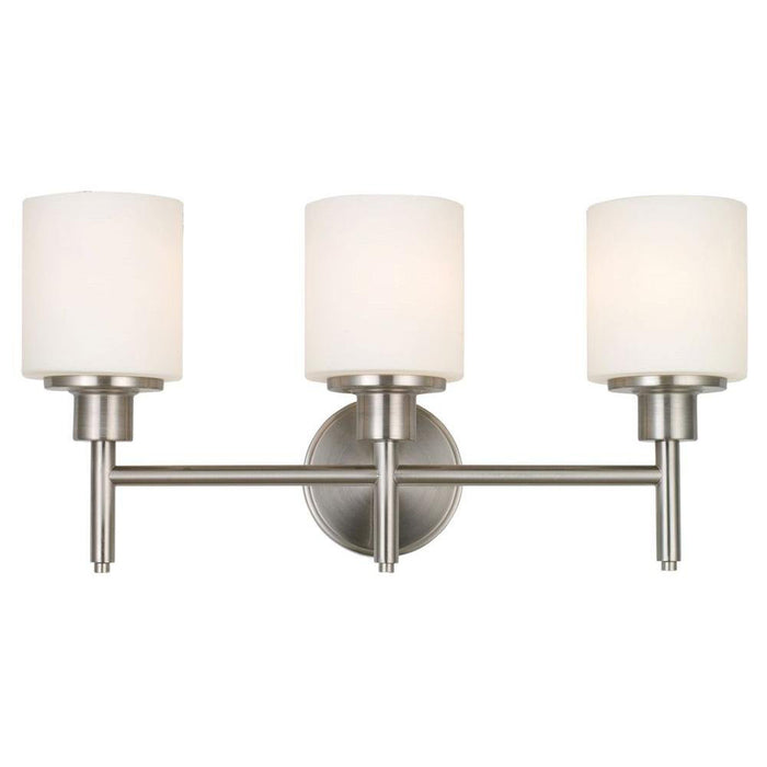 Large 3-Light Bathroom Vanity Light with Satin Nickel and White Glass Shade Vanity Sconce