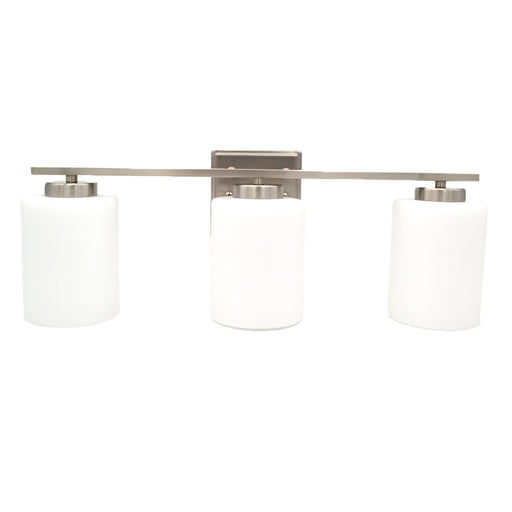 3-Light Bathroom Vanity Light  Bright Satin Nickel and White Glass Shades Vanity Sconce