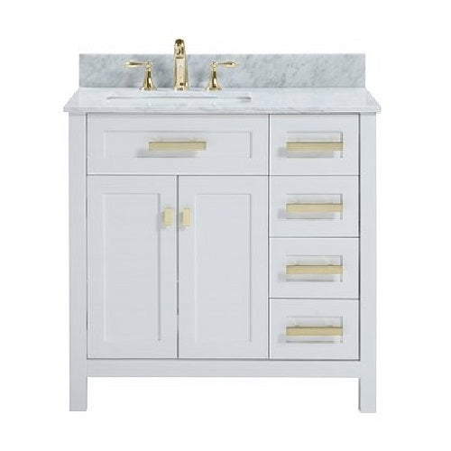"Capri - 36"" White, Modern Freestanding Bathroom Vanity"