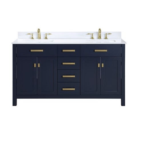 "Luca - 60"" Navy Blue, Modern Freestanding Bathroom Vanity"