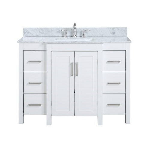 "Sophia - 48"" White, Modern Free Standing Vanity - Coming in July"