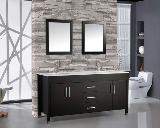Donald- 60 inch Traditional Freestanding Espresso Double Bathroom Vanity w/ Stone Top