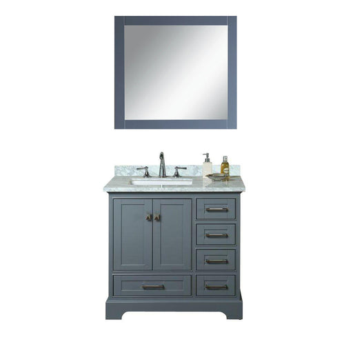Aubrey- 36 inch Traditional Freestanding Gray Bathroom Vanity w/ Marble Top