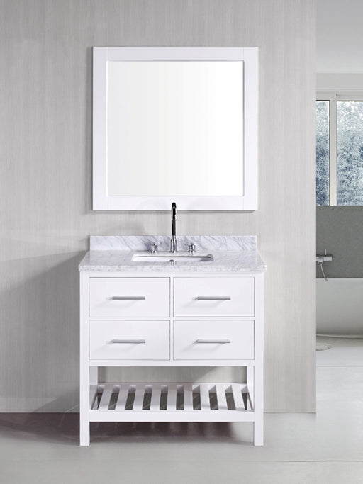 Anthony- 30 inch Traditional Freestanding White Bathroom Vanity w/ Marble Top