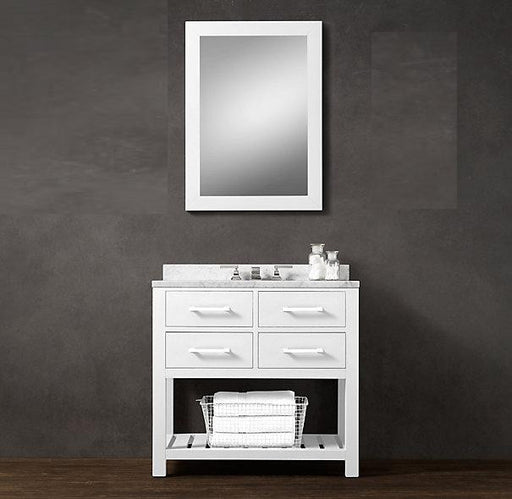 Lisa- 36 inch Modern Freestanding White Bathroom Vanity w/ Marble Top