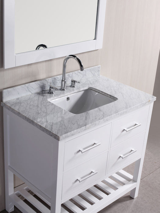Lisa 36 Inch Modern Freestanding White Bathroom Vanity W