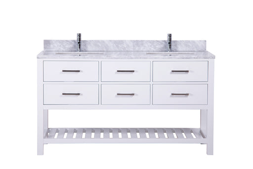 Nicole- 60 inch Traditional Freestanding White Double Bathroom Vanity w/ Marble Top