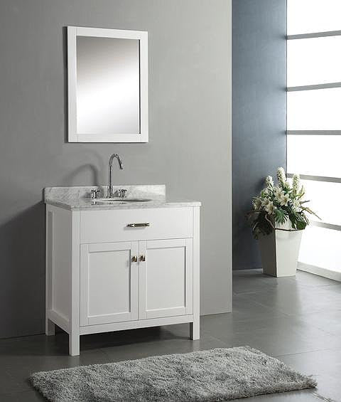Anne- 30 inch Traditional Freestanding White Bathroom Vanity w/ Marble Top