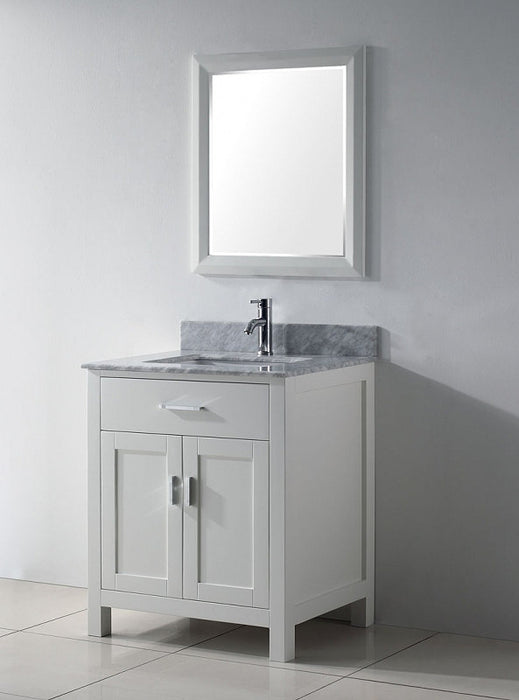 ... Deanna  24 Inch Traditional Freestanding White Bathroom Vanity W/  Marble Top