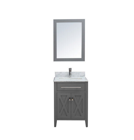 Kennedy- 24 inch Traditional Freestanding Gray Bathroom Vanity w/ Marble Top