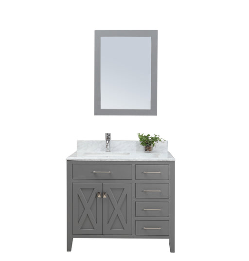 Alexa- 36 inch Traditional Freestanding Gray Bathroom Vanity w/ Marble Top