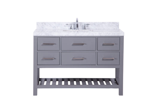 Ella- 48 inch Traditional Freestanding Gray Bathroom Vanity w/ Marble Top