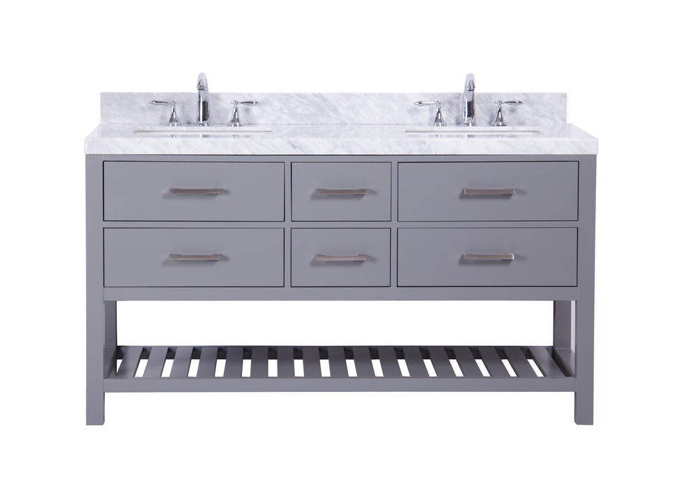 Mary- 60 inch Traditional Freestanding Gray Double Bathroom Vanity w/ Marble Top