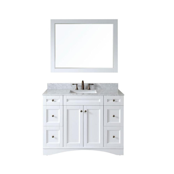 Antonietta  48 Inch Traditional Freestanding White Bathroom Vanity W/  Marble Top ...