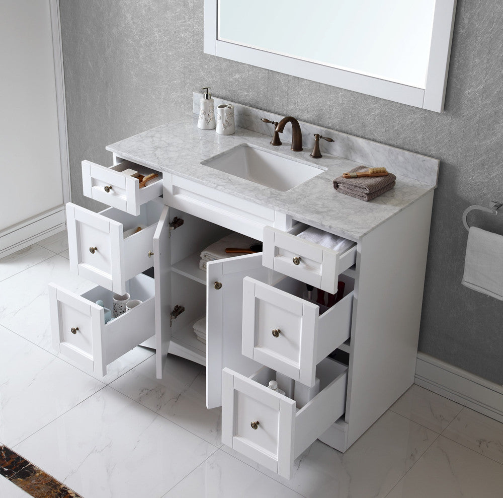 Antonietta 48 inch traditional freestanding white bathroom vanity w belvedere bath for Freestanding 24 inch bathroom vanity