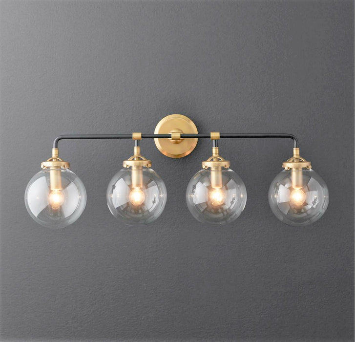 Globe 4-Light Globe Vanity Sconce - Black and Gold