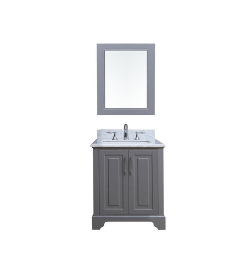 Aiden- 30 inch Traditional Freestanding Gray Bathroom Vanity w/ Marble Top