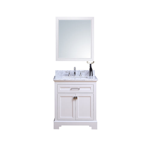 Louis- 30 inch Traditional Freestanding White Bathroom Vanity w/ Marble Top